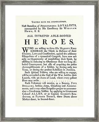 Facsimile Of A Proclamation By Sir William Howe All Framed Print by English School