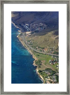 Factory And Highway By Seashore Framed Print by Sami Sarkis