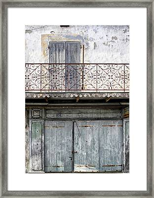 Faded Blue Old French Building Framed Print