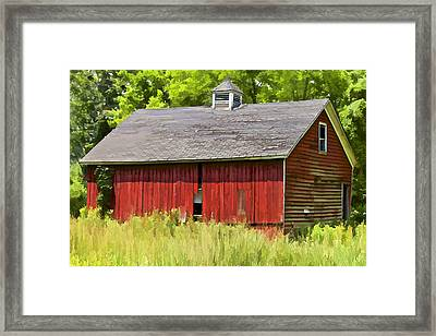 Faded Red Farm House Framed Print