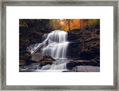 Fading October Daylight On Shawnee Falls Framed Print by Gene Walls