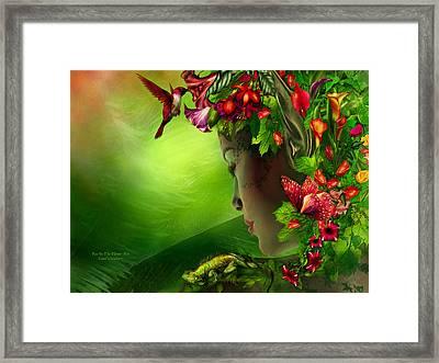 Fae In The Flower Hat Framed Print by Carol Cavalaris
