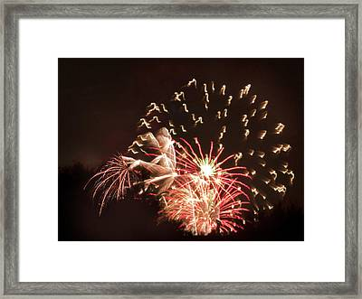 Framed Print featuring the photograph Faerie In The Fireworks by Terri Harper