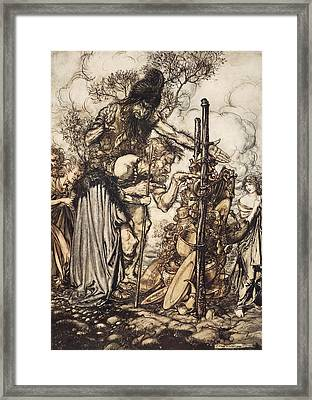 Fafner Hey! Come Hither, And Stop Framed Print by Arthur Rackham