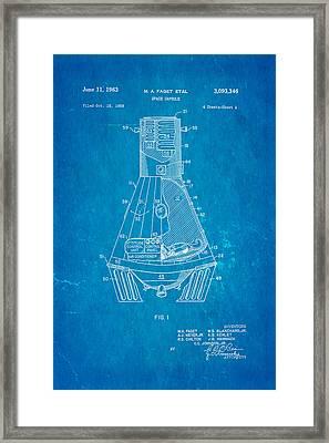 Faget Space Capsule Patent Art 1963 Blueprint Framed Print