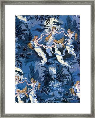 Fairies In The Moonlight French Textile Framed Print by Photo Researchers
