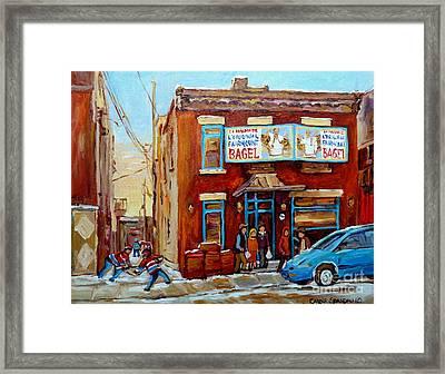 Fairmount Bagel In Winter Montreal City Scene Framed Print