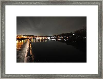 Fairmount Dam And Boathouse Row In The Evening Framed Print by Bill Cannon