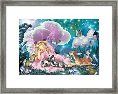Fairy Asleep And Baby Badgers Framed Print