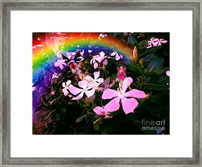 Fairy Landing On Crape Jasmine Framed Print by Artist Nandika  Dutt