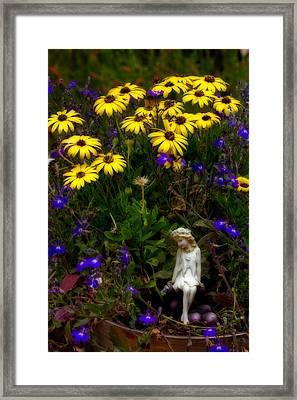 Fairy In Garden Pot Framed Print by Dave Garner