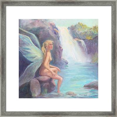 Fairy Of The Falls Morning Bath Framed Print by Gwen Carroll