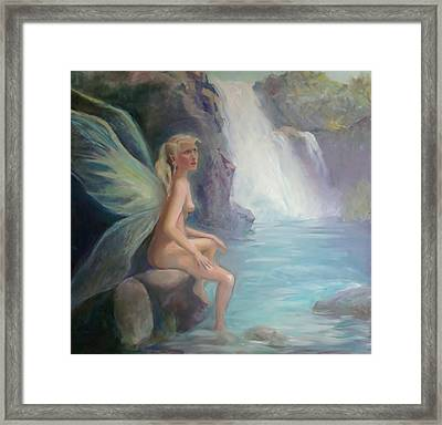 Fairy Of The Secret Falls Framed Print by Gwen Carroll