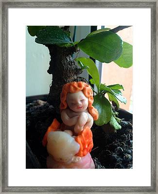 Fairy Puney Cuteness Wiseness Ooak Doll Doll House Framed Print by TriyaandNora Sculpts