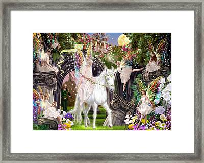 Fairy Queen With Unicorn Framed Print by Garry Walton