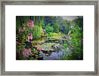 Fairy Tale Pond With Water Lilies And Willow Trees Framed Print by Carla Parris