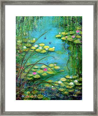 Fairy Tale Water Lilies Pond Framed Print by Carla Parris