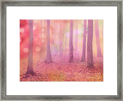 Fairytale Pink Autumn Nature Trees - Dreamy Fantasy Surreal Pink Trees Woodland Fairytale Art Print Framed Print by Kathy Fornal