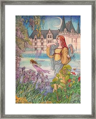 Framed Print featuring the painting Fairytale Nocturne Castle by Judith Cheng