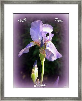 Faith Hope And Courage Iris Framed Print by Michelle Frizzell-Thompson