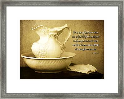 Faithful And Just To Cleanse Us Framed Print by Lincoln Rogers