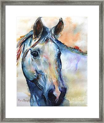Horse  Grey Or White And Colorful Faithful Framed Print