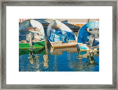 Faithful Working Boats Framed Print by Joan Herwig