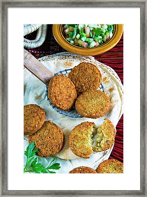 Falafel, Chickpeas Croquettes, Arabic Framed Print by Nico Tondini