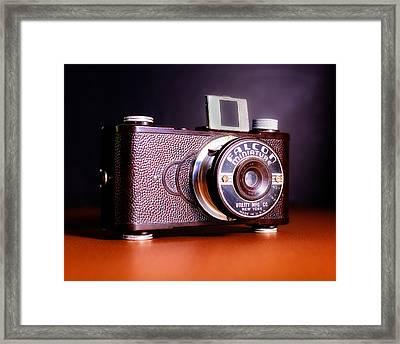 Falcon Miniature Camera In Tortoise-shell Bakelite Framed Print by Jon Woodhams