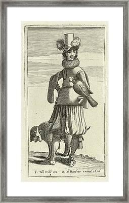 Falconer With Hunting, Jan Van De Velde II Framed Print by Jan Van De Velde (ii) And Robert De Baudous