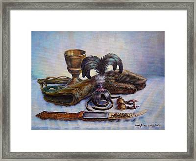 Falconry Still Life. Framed Print by Anna Franceova