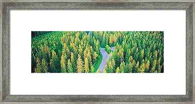 Fall Aerial Road Forest Kuopio Finland Framed Print