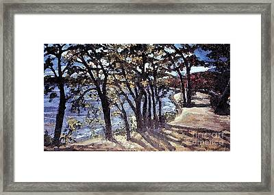 Framed Print featuring the painting Fall Afternoon At Lake Walden by Rita Brown