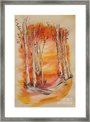 Framed Print featuring the painting Fall Aspen On Paper by Janice Rae Pariza