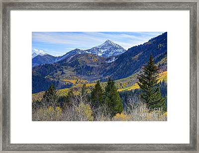 Fall At Cascade Peak And Sundance From Alpine Loop  Framed Print