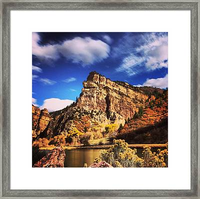 Fall At Hanging Lake Colorado Framed Print by Tory Stoffregen