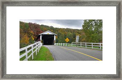 Fall At The Jacksons Mill Covered Bridge Framed Print by Dan Myers