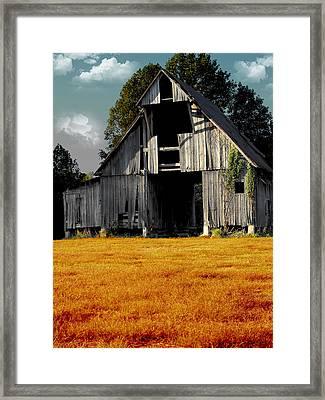 Fall Barn Framed Print by Kristie  Bonnewell
