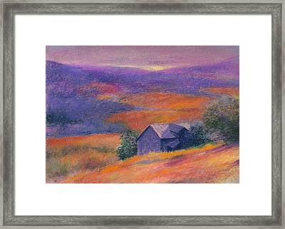 Fall Barn Pastel Landscape Framed Print by Judith Cheng