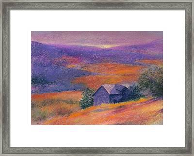 Fall Barn Pastel Landscape Framed Print