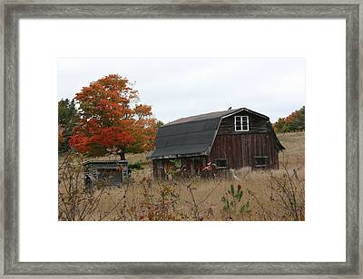 Framed Print featuring the photograph Fall Barn by Paula Brown