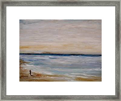 Framed Print featuring the painting Fall Beach Day 3 by Lindsay Frost