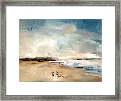 Framed Print featuring the painting Fall Beach Day Two by Lindsay Frost