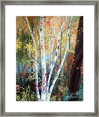 Fall Birch Trees Framed Print by Laura Tasheiko