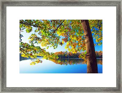 Fall By The Lake Framed Print
