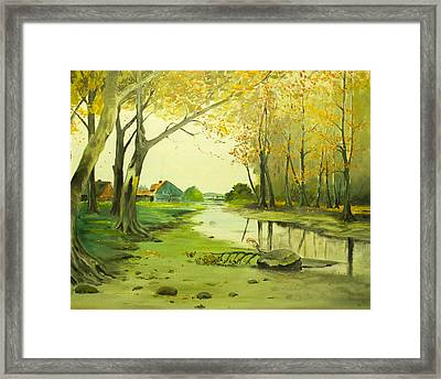 Fall By The Stream By Merlin Reynolds Framed Print