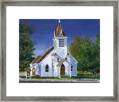 Fall Church Framed Print by Lynne Reichhart