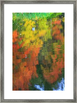 Fall Colors Are Reflected In This Pond Framed Print