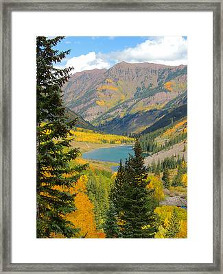 Fall Colors At Maroon Lake Framed Print by Steve Anderson