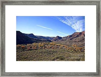Fall Colors In The Verde Canyon Along The Verde River In Arizona Framed Print